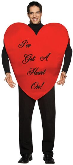Mens Heart On Funny Adult Costume