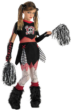 Tween Kids Gothic Cheerless Leader Scary Costume