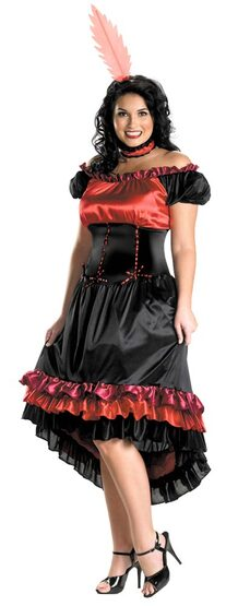 Womens Can Can Cutie Plus Size Saloon Girl Costume
