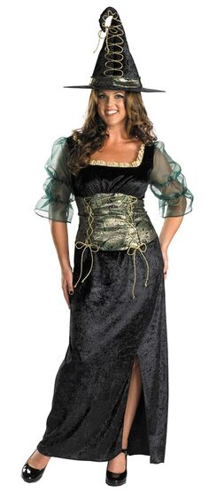 Womens Pretty Emerald Plus Size Witch Costume