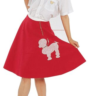 Womens Red Poodle Skirt Adult 50s Costume