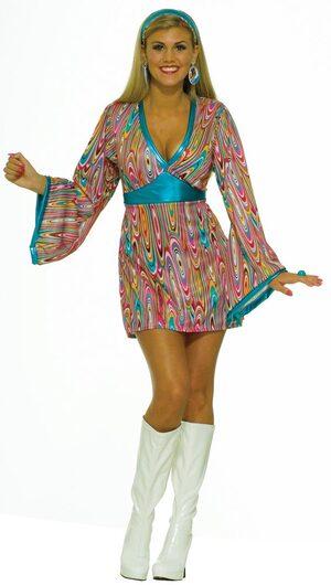 Womens Wild Swirl Adult 60s Costume
