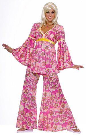 Womens Pink Flower Power Adult Hippie Costume