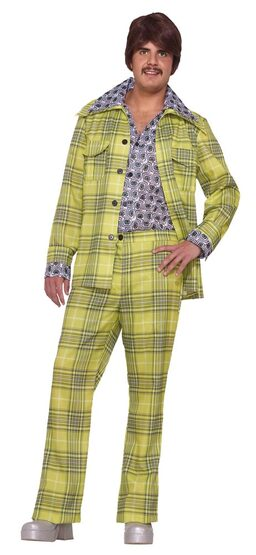Mens Plaid Leisure Suit 70s Disco Costume