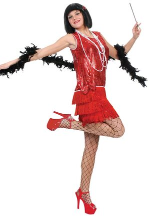 Womens Sexy Red Sequin Flapper Dress Costume