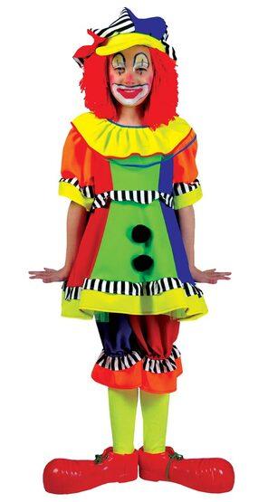 Girls Spanky Stripes Kids Clown Costume