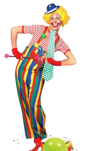 Adult Striped Clown Costume Overalls