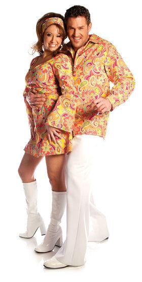 Mens Groovy Orange Adult 70s Costume