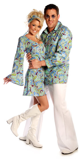 Mens Groovy Blue Adult 70s Costume