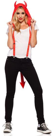 Red Hot Devil Suspender Hood Adult Costume
