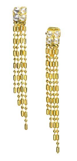Womens Gold Dangle Flapper Earrings