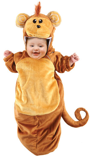 Brown Fuzzy Monkey Bunting Baby Costume