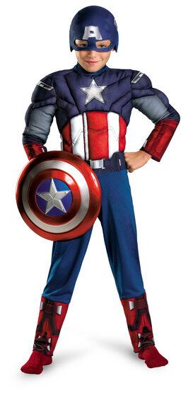 Boys Captain America Light Up Muscle Chest Avengers Kids Costume