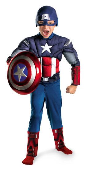 Boys Captain America Muscle Chest Avengers Kids Costume