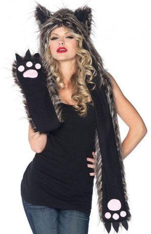 Plush Wolf Hood with Paw Scarf