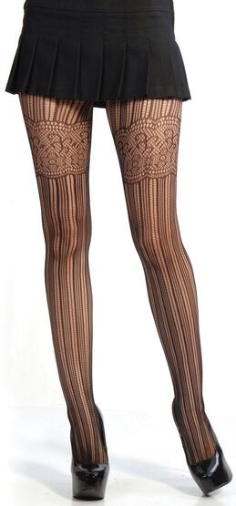 Stripe and Lace Pantyhose