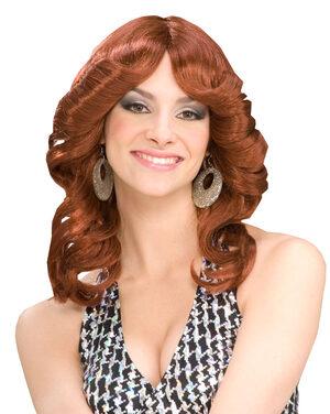 Womens Auburn Disco Doll 70s Wig