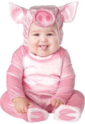 Girls Pink Little Piggy Baby Costume