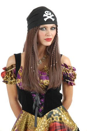 Brown Braided Pirate Wig