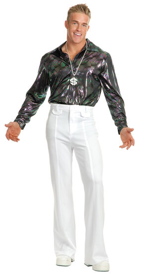 Hologram Multi Ribbon Disco Shirt Adult Costume