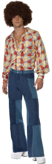 Mens Patchwork Flares 70s Bell Bottom Pants