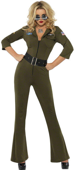 Green Details about  /Sexy Top Gun Costume