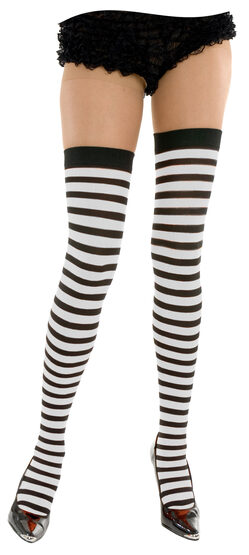 White and Black Striped Thigh High Stocking