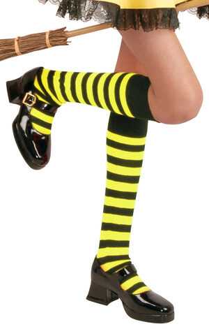 Black and Yellow Striped Knee High Stocking