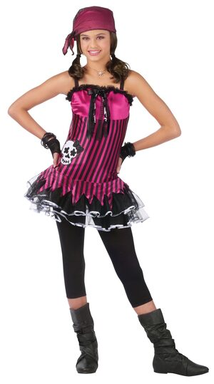 Kids Rockin Skull Girls Pirate Costume