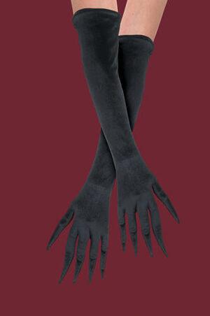 Womens Gothic Full Length Black Gloves