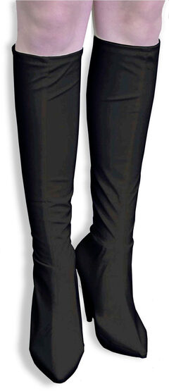 Black Knee High Leather Boot Covers