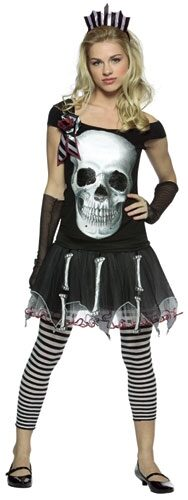 Glam Faces Skull Gothic Teen Costume