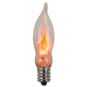 C7 Flicker Flame Themed Transparent Replacement Bulbs