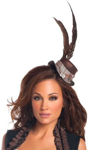 Brown Steampunk Mini Top Hat