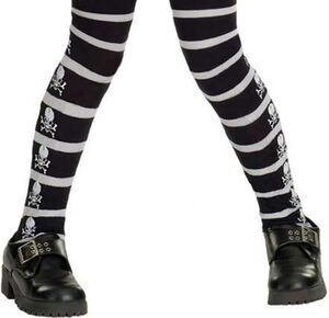 Girls Gothic Skull and Cross Bone Kids Costume Tights