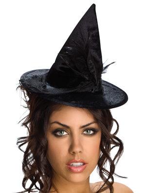 Black Velour Mini Witch Hat