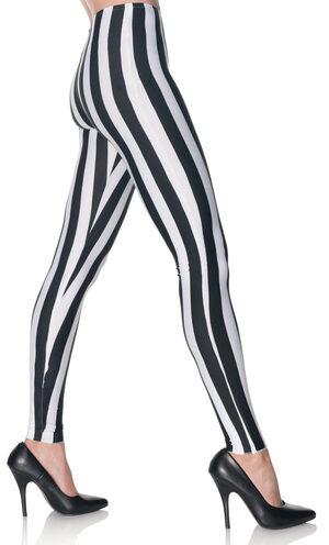 Black and White Vertical Stripe Leggings
