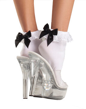 Ruffle Top Anklet with Satin Bow