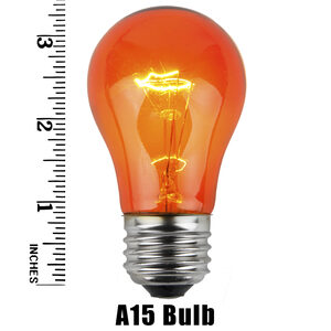 A15 Amber Transparent Replacement Bulbs