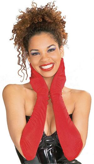 Red Elbow Length Flapper Girl Gloves