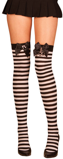 Black and White Striped Thigh High with Satin Bow and Handcuffs