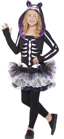 Girls Skelly Cat Kids Costume