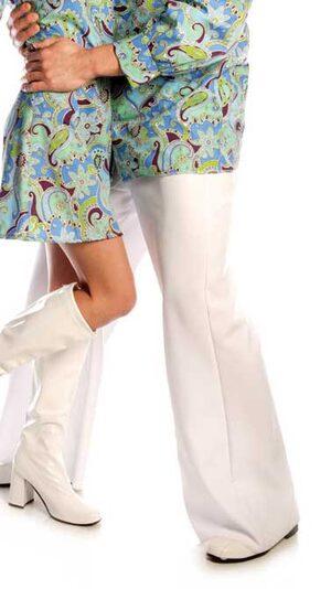 Mens White Bell Bottom Pants