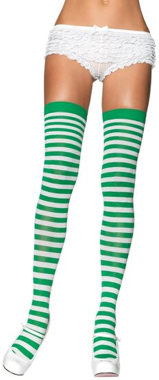 Green and White Striped Thigh High Stocking