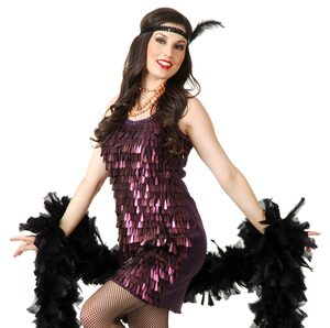 Sexy Plum Teardrop Flapper Costume