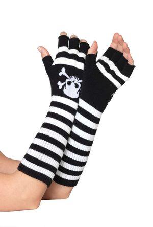 Black and White Striped Fingerless Gloves with Skull Print
