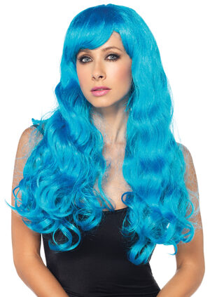 Starbright Neon Blue Long Wavy Wig
