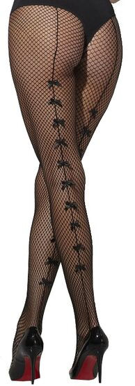 Black Fishnet Stockings with Bows