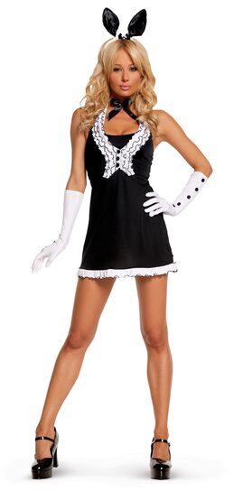 Sexy Womens Black Tie Bunny Costume