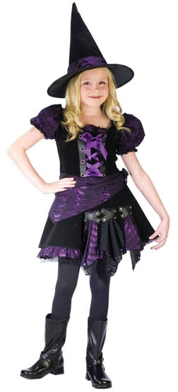 Girls Purple Punk Kids Witch Costume